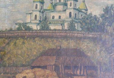 Картина Преображенського собору на замковій горі. Місто Овруч